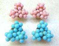 Two Pairs Of Vintage Pink And Blue Floral Bead Clip On Earrings.